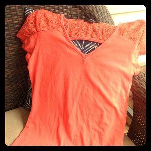 Cute Orange Lace Top